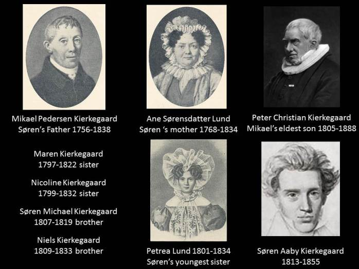 When Mikael Kierkegaard (Michael) died on August 9, 1838 Soren had lost both his parents and all his brothers and sisters except for Peter who later became Bishop of Aalborg in the Danish State Lutheran Church.