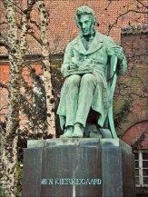 A statue of Soren Kierkegaard in the Royal Library Garden