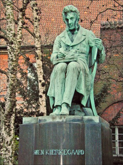 A statue of Soren Kierkegaard in the Royal Library Garden