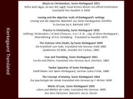 Kierkegaard translated into German and Sweden