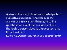 knowledge and view of life
